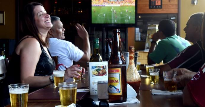 Soccer fans at a bar