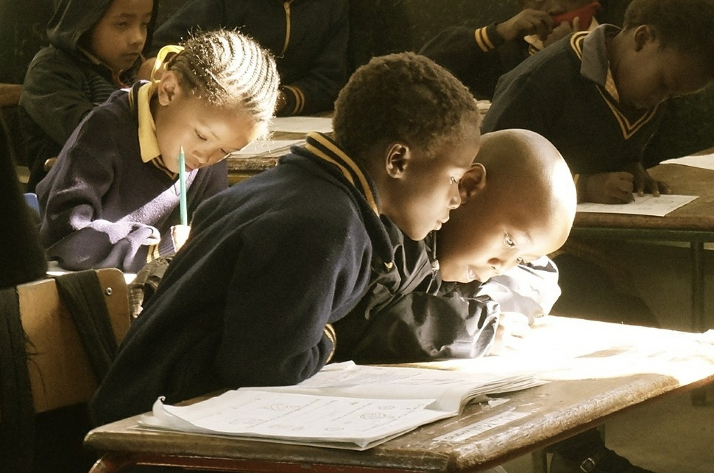A group of students in a classroom.