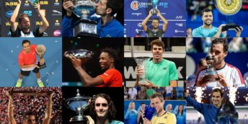 Tennis stars with winning trophies