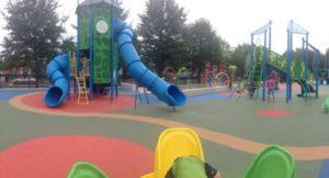Rides for children in a playground.