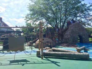 Wooden structures in a playground.