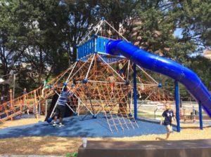 A slide in a children's playground.
