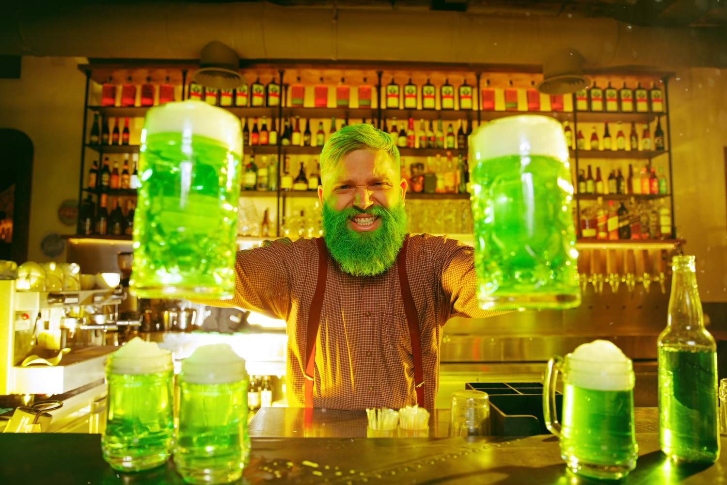 Bartender holding up two drinks in an Irish bar