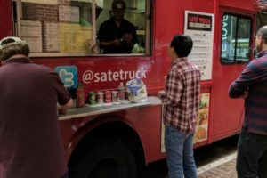 A red food truck
