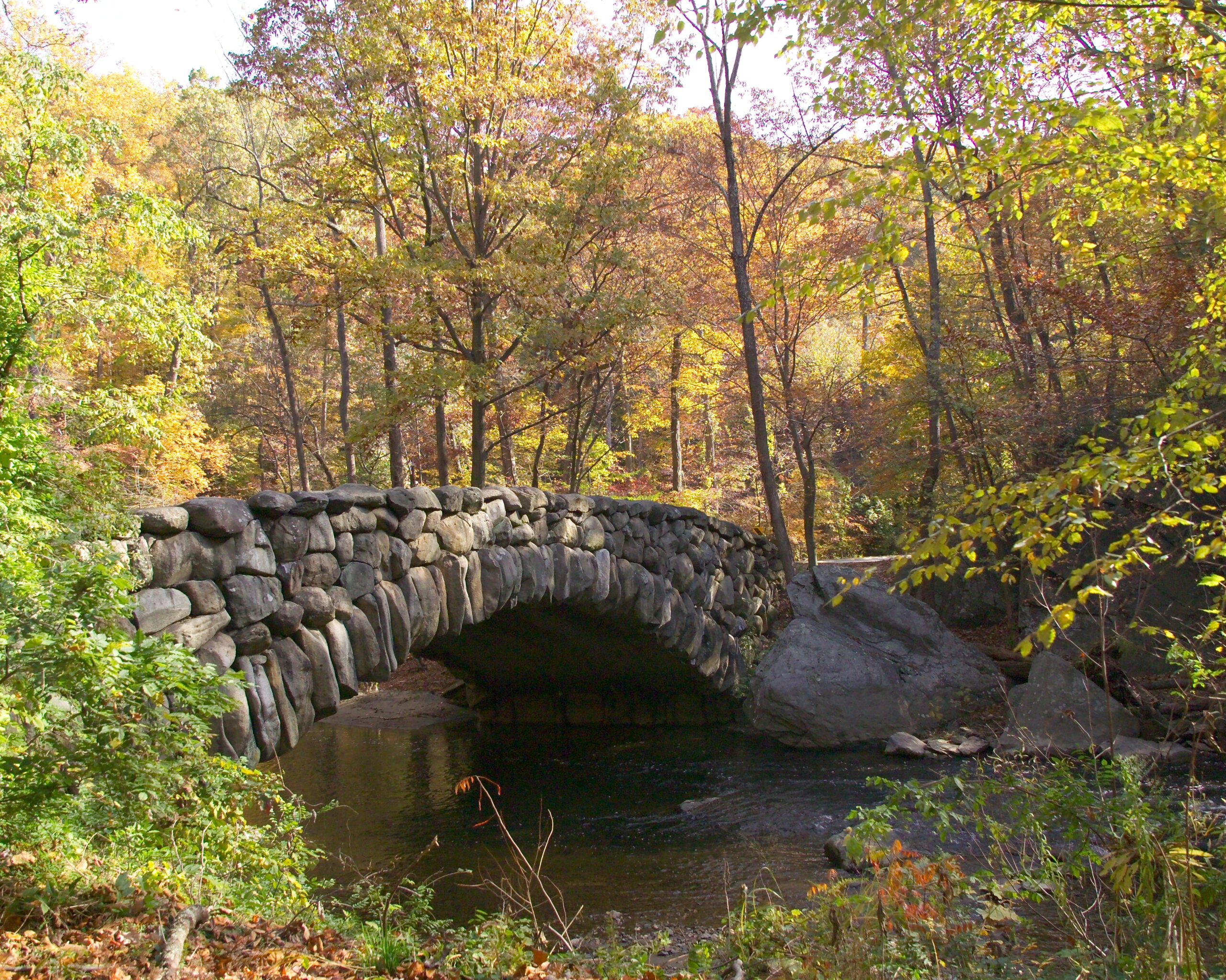 Boulder Bridge over Rock Creek on an early fall day.