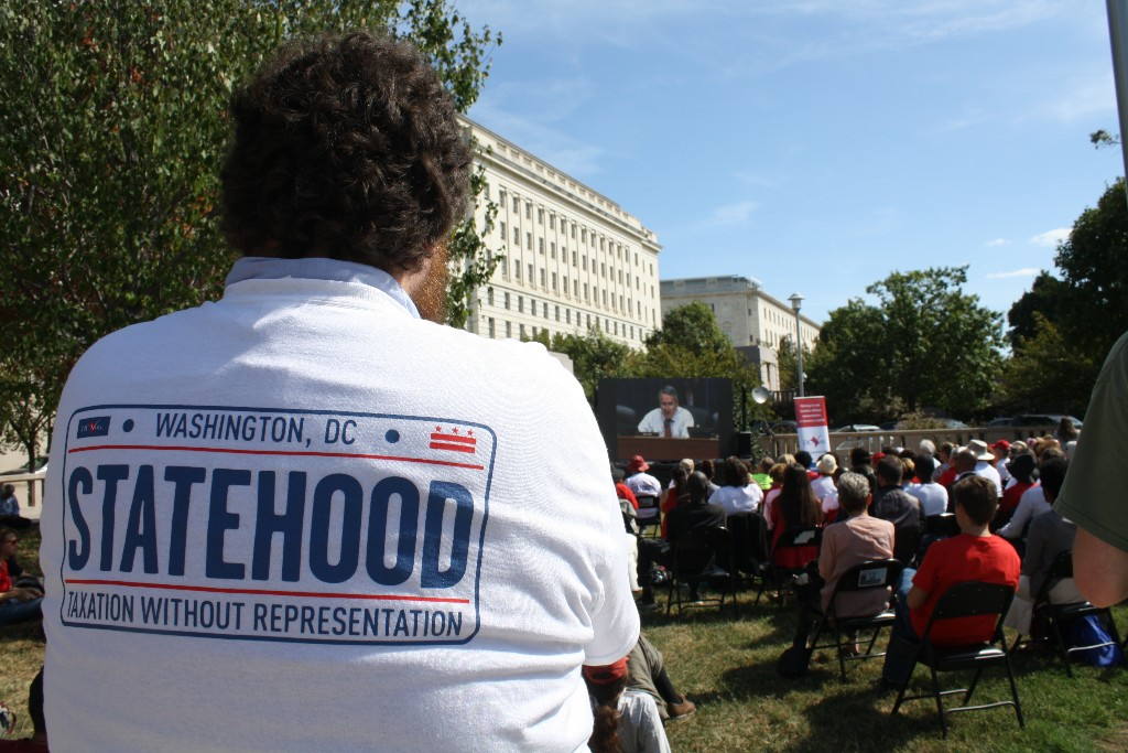 A man wearing a DC statehood sweatshirt during the House hearing on June 26, 2020.