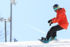 A man skiing at Liberty Mountain Resort.
