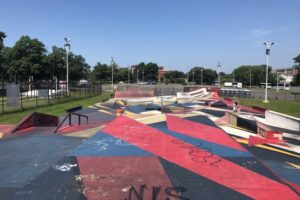 A view of the Maloof Skatepark.
