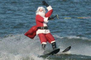 Waterskiing Santa