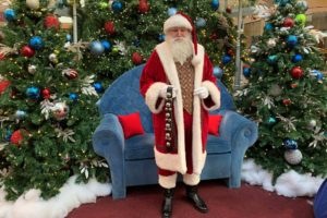 A Santa Clause impersonator at Shop Dulles Town Center