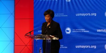 D.C. Mayor Muriel Bowser speaking at the U.S. Conference of Mayors 2020