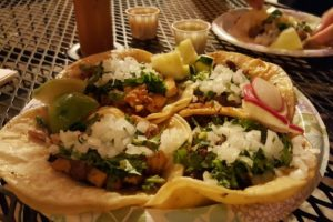 A taco plate at Tacos El Chilango