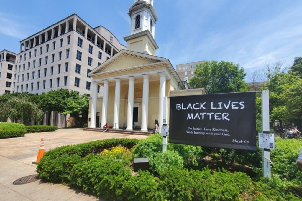 A 'Black Lives Matter' sign outside St. John's Church.