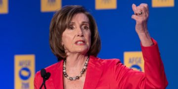 House Speaker Nancy Pelosi speaking at an event.