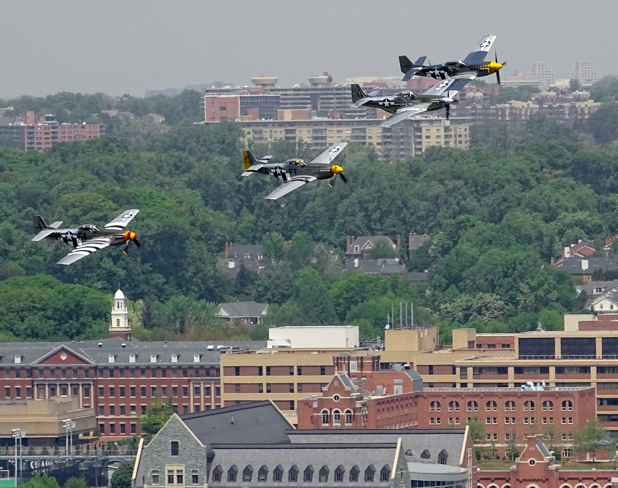 Photo of P-51 Mustangs flying over Washington, DC, during the 2015 Arsenal of Democracy Flyover