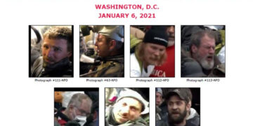 The suspects the FBI is looking for in relation to an assault on a DC police officer.