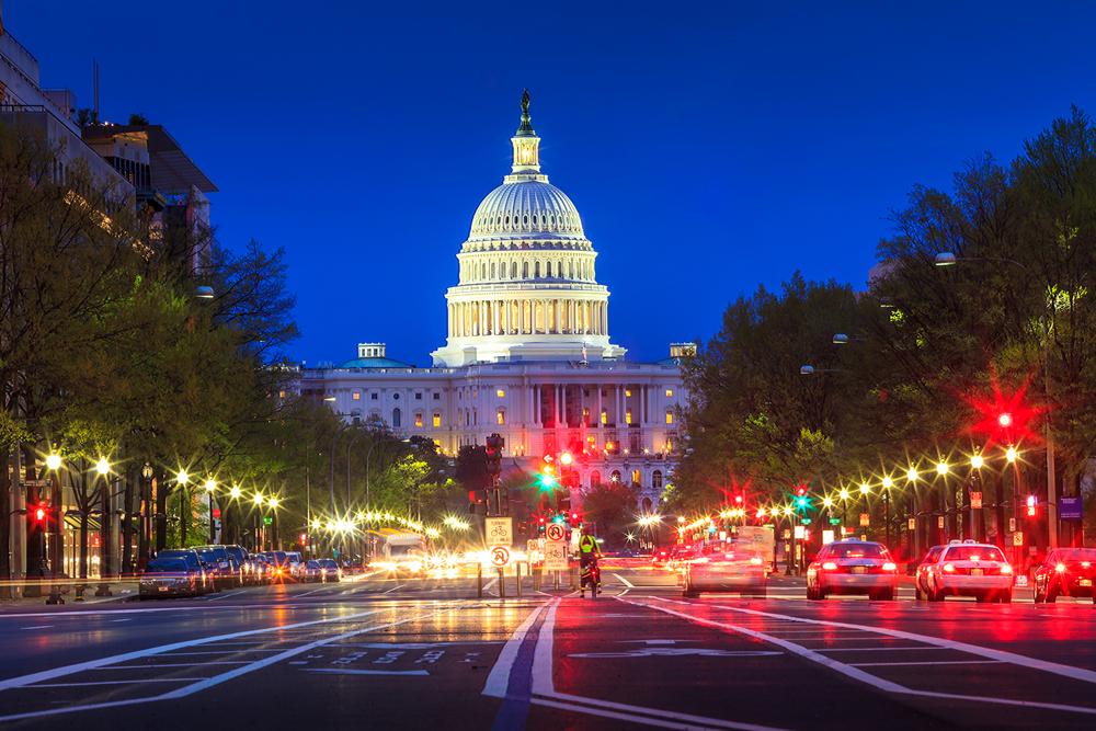 US Capitol building, night, Washington dc, city