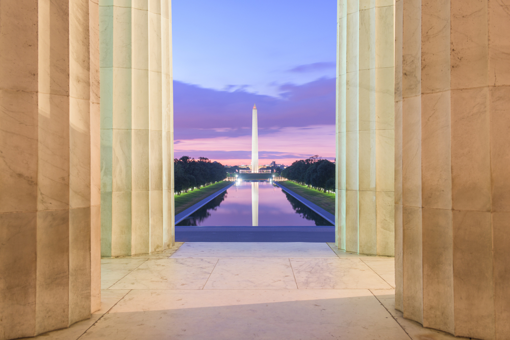 The Washington Monument and Reflecting Pool from the Lincoln Memorial.