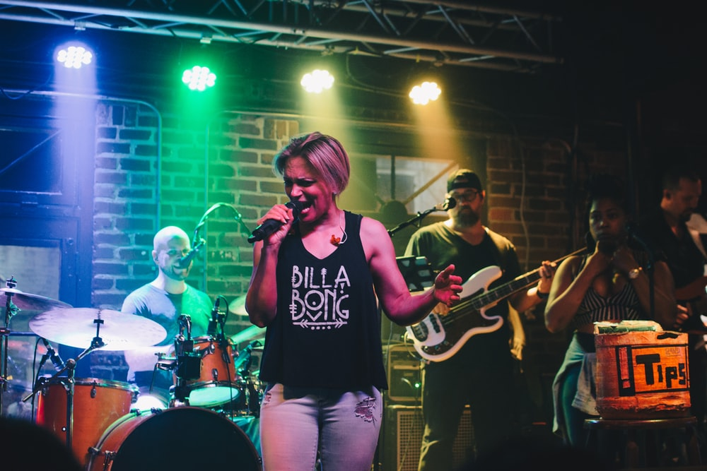 female singer in a live music show